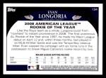 2009 Topps #134  Evan Longoria  Back Thumbnail