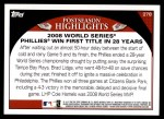 2009 Topps #278   Philadelphia Phillies Back Thumbnail