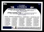 2009 Topps #201   -  Jarrod Saltalamacchia / Josh Hamilton Brothers in Arms Back Thumbnail