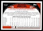 2009 Topps #392  Brandon Phillips  Back Thumbnail