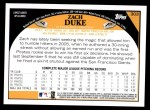 2009 Topps #303  Zach Duke  Back Thumbnail