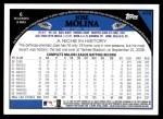 2009 Topps #478  Jose Molina  Back Thumbnail