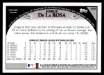 2009 Topps #588  Jorge De La Rosa  Back Thumbnail