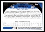 2009 Topps #589  Rickey Romero  Back Thumbnail