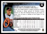 2010 Topps #45  David Hernandez  Back Thumbnail