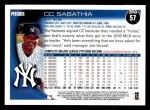 2010 Topps #57  CC Sabathia  Back Thumbnail