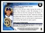 2010 Topps #98  Cesar Ramos  Back Thumbnail