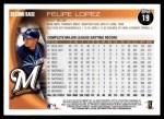 2010 Topps #19  Felipe Lopez  Back Thumbnail