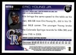 2010 Topps #51  Eric Young Jr  Back Thumbnail