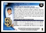 2010 Topps #18  Tim Stauffer  Back Thumbnail