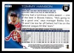 2010 Topps #20  Tommy Hanson  Back Thumbnail
