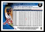 2010 Topps #37  Garret Anderson  Back Thumbnail