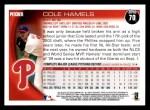 2010 Topps #70  Cole Hamels  Back Thumbnail