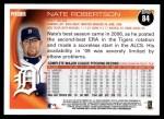 2010 Topps #84  Nate Robertson  Back Thumbnail