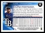 2010 Topps #95  Carl Crawford  Back Thumbnail