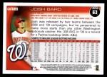 2010 Topps #63  Josh Bard  Back Thumbnail