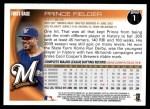 2010 Topps #1  Prince Fielder  Back Thumbnail
