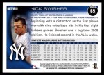 2010 Topps #65  Nick Swisher  Back Thumbnail