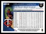 2010 Topps #11  Orlando Cabrera  Back Thumbnail