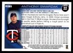 2010 Topps #22  Anthony Swarzak  Back Thumbnail