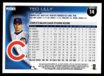 2010 Topps #14  Ted Lilly  Back Thumbnail
