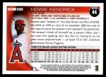 2010 Topps #44  Howie Kendrick  Back Thumbnail