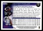 2010 Topps #17  Dexter Fowler  Back Thumbnail