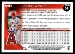 2010 Topps #54  John Lackey  Back Thumbnail