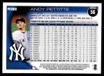 2010 Topps #56  Andy Pettitte  Back Thumbnail