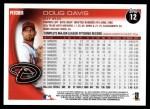 2010 Topps #12  Doug Davis  Back Thumbnail