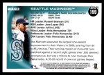 2010 Topps #199   Mariners Team Back Thumbnail