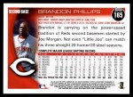 2010 Topps #165  Brandon Phillips  Back Thumbnail
