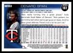 2010 Topps #161  Denard Span  Back Thumbnail