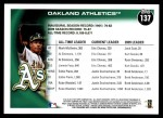 2010 Topps #137   Athletics History Back Thumbnail