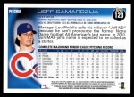 2010 Topps #123  Jeff Samardzija  Back Thumbnail