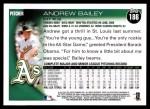 2010 Topps #186  Andrew Bailey  Back Thumbnail