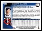 2010 Topps #101  Scott Baker  Back Thumbnail
