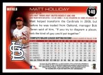 2010 Topps #140  Matt Holliday  Back Thumbnail