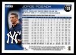 2010 Topps #120  Jorge Posada  Back Thumbnail