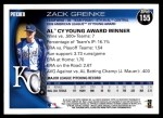2010 Topps #155   -  Zack Greinke AL Cy Young Award Winner Back Thumbnail