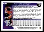 2010 Topps #147  Huston Street  Back Thumbnail