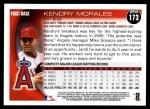 2010 Topps #173  Kendry Morales  Back Thumbnail