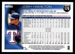 2010 Topps #175  Josh Hamilton  Back Thumbnail