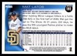 2010 Topps #191  Mat Latos  Back Thumbnail