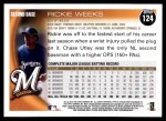 2010 Topps #124  Rickie Weeks  Back Thumbnail