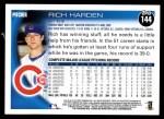 2010 Topps #144  Rich Harden  Back Thumbnail