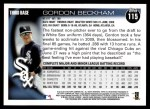 2010 Topps #115  Gordon Beckham  Back Thumbnail