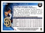 2010 Topps #187  Will Venable  Back Thumbnail