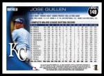 2010 Topps #149  Jose Guillen  Back Thumbnail