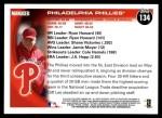 2010 Topps #134   Phillies Team Back Thumbnail